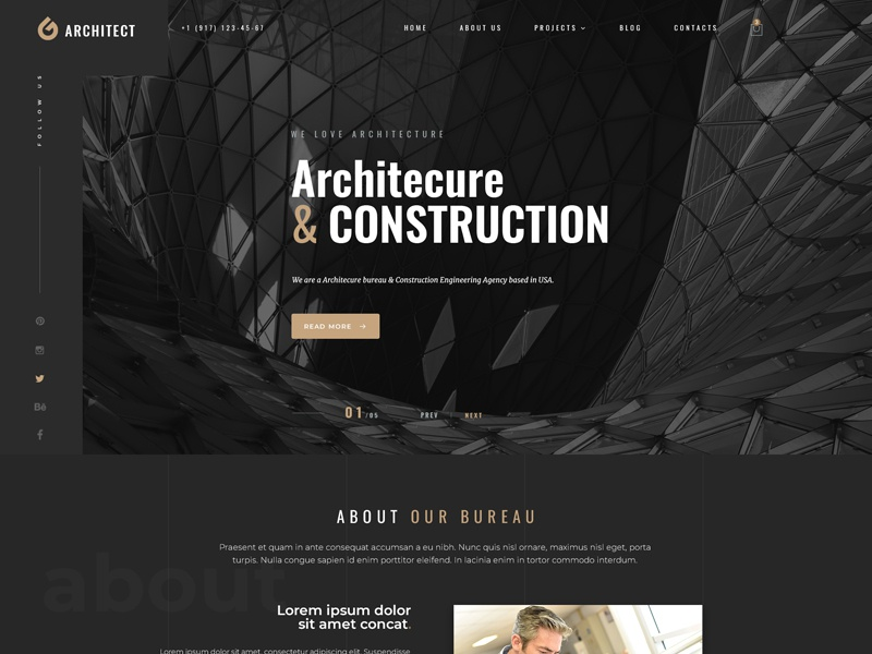 Architecture Bootstrap 4 Template Website Templates Html Bootatrap Themes