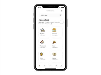 Dobule - Food Delivery / Discover food & Menu mobile sketch minimal ios graphic design food clean branding design ux ui animation app