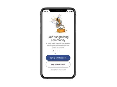 Fortunato - Radio App / Welcome, sign in animation music radio mobile minimal clear design app