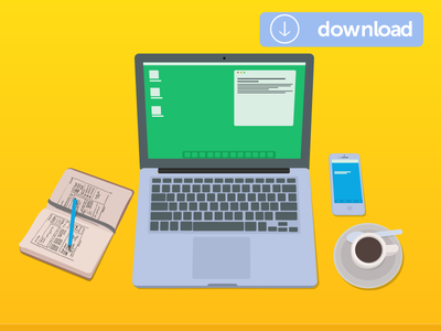 Workstation Downlaod svg ai download vector illustration pen notepad tea coffee desk laptop workstation