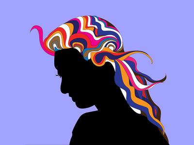 Milton Glaser Inspired Illustration print hair girl illustration