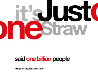 #StopSucking , refuse the straw type typography poster