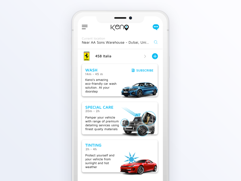 Car Services (Home Screen) interface homescreen vehicle iphone ux ui services on-demand app car