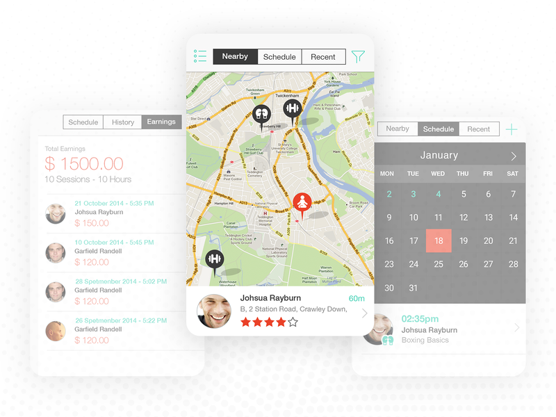 On-Demand Trainer App schedule earning training boxing yoga gym profile location proximity map tabs interface ux ui app on-demand fitness trainer