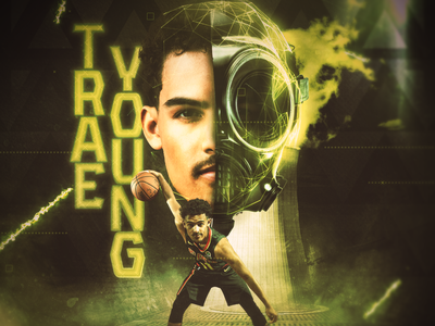 Trae Young - Atlanta Hawks visual graphic design hawks rookie point guard trae young basketball player design basketball