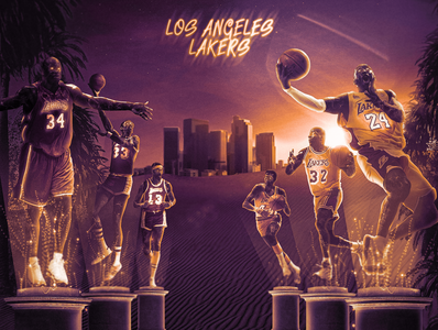 LA Lakers - ALL TIME compositing statue downtown staples center lebron james kobe bryant magic johnson boulevard hollywood lakers los angeles sports sports design basketball