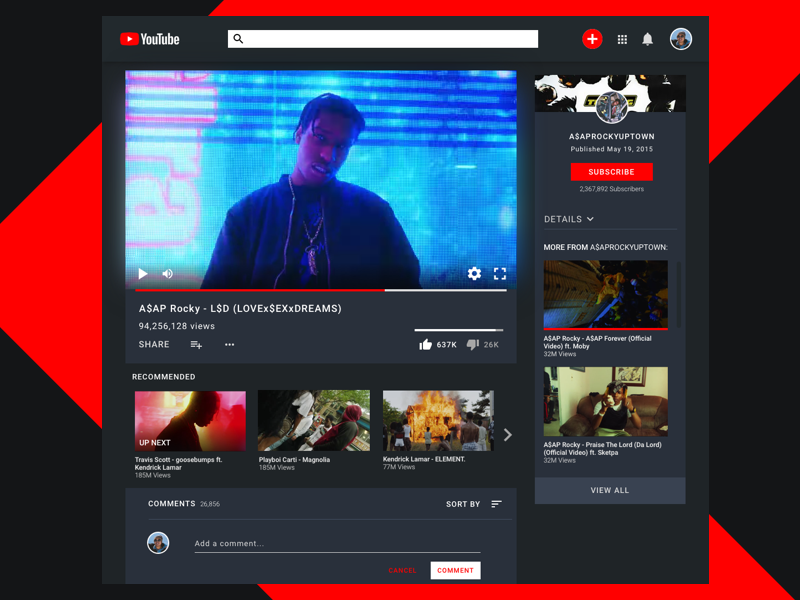 Youtube Redesign by Alex Le on Dribbble