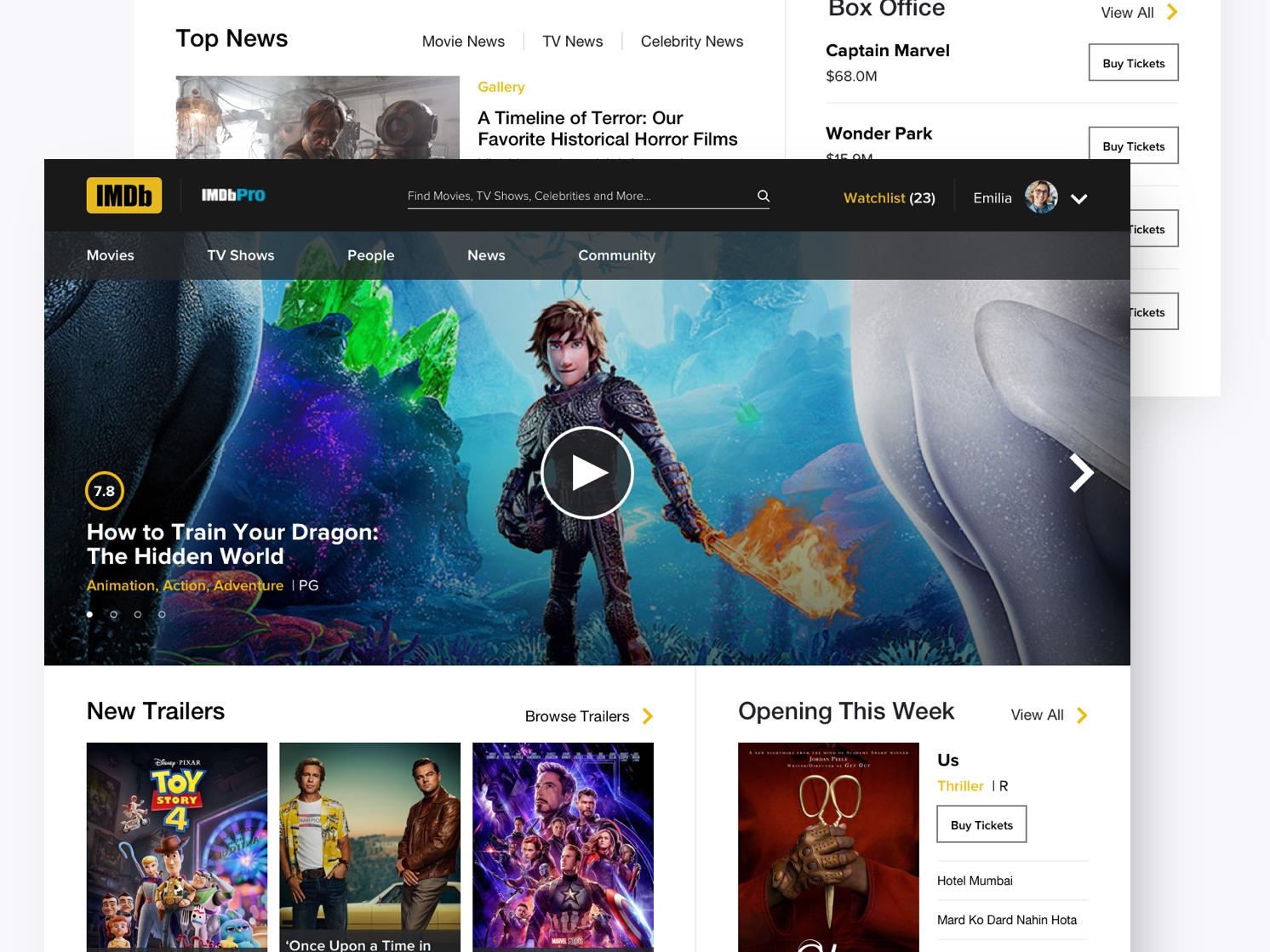 IMDb Redesign landing page website database film movies imdb ui design ux design webdesign
