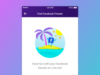 Find Friends Page colorful ux ui app coconut tree island ios illustration find friends fashion facebook empty state