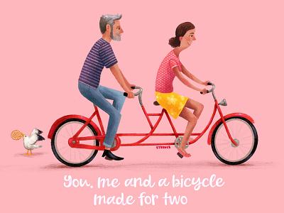 Valentines bike ride valentinesday cyclists bike ride bikes bicycle illustration cyclist textured bike