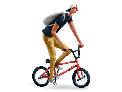 BMX fun fiets cyclists bike ride bikes bicycle illustration cyclist textured bike