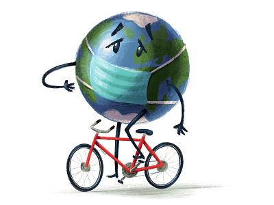 World Health Day cyclists bicycle bike ride bikes illustration cyclist textured bike earthday earth planet world