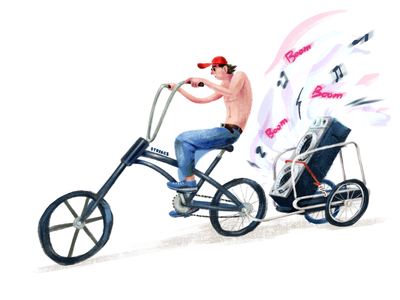 Sound of Summer funny bikes illustration cyclist bike