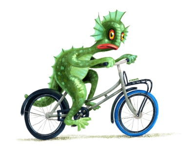 Swamp Monster characterdesign swamp monster textured bikes illustration cyclist bike
