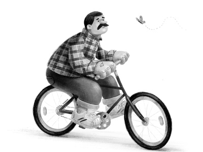 Big Softy textured black and white cyclist bikes bike illustration