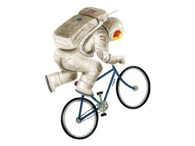 50th anniversary moon landing moon spaceman astronaut space design textured cyclist bike