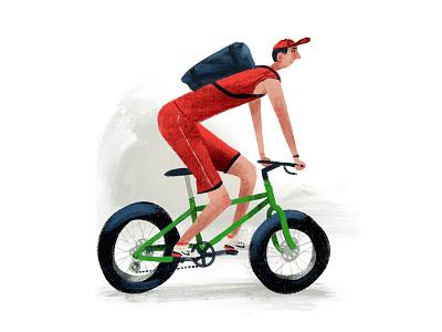 fat wheels bicycle illustration bikes textured cyclist bike ride bike