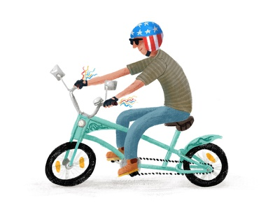 easy rider bicycle illustration bikes textured cyclist bike