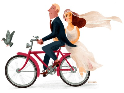 Just Married married wedding bicycle illustration textured bike ride cyclists fiets bike