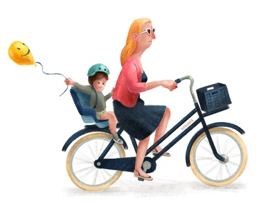 Mums on a mission motherhood mother fiets cyclists bike ride bikes bicycle illustration cyclist textured bike