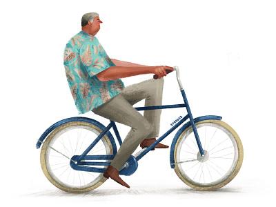 Hawaiian Winter hawaioanshirt fiets cyclists bike ride bikes bicycle illustration cyclist textured bike