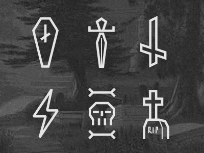 Death Icons tomb bones cross icons cemetery dagger death