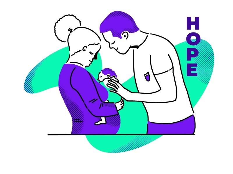 Family Hope parents hospital nicu baby hope family illustration