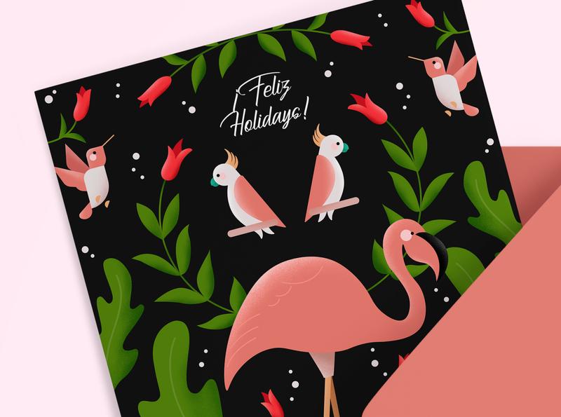 Feliz Holidays! affinity designer jungle vector flamingo birds illustration greeting card holiday