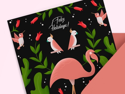 Feliz Holidays! affinity designer jungle vector flamingo birds illustration greeting card holiday