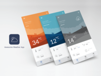 Weather app UI & illustration