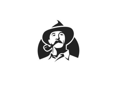Wild West Man Logo community people stencil face classic vintage masculine man west wild company icon western cowboy identity branding simple design vector logo