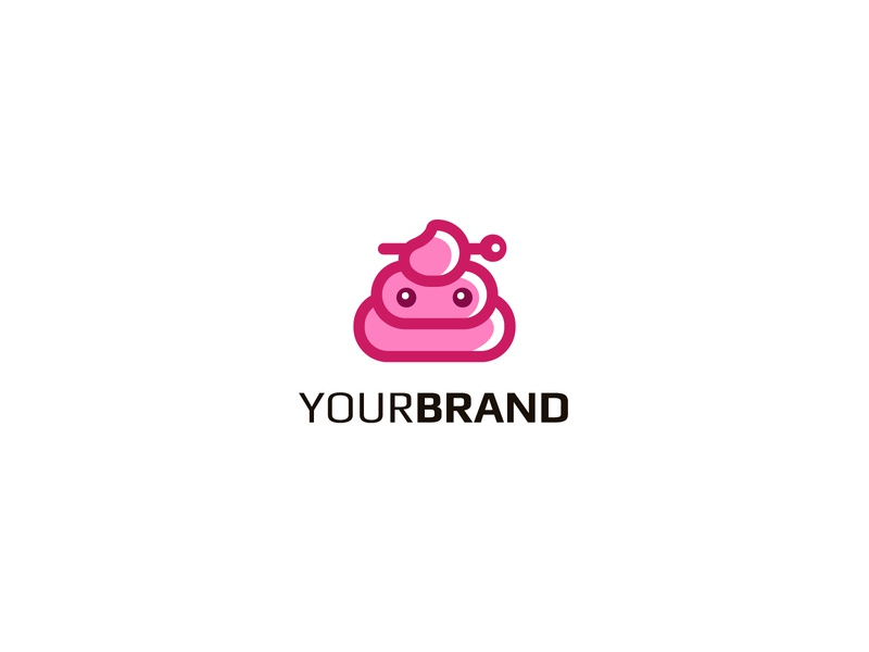 Cute Poo Logo lineart feminine merchandise fashion hairpin funny pink adorable character design character poo shit cute icon simple identity branding design vector logo