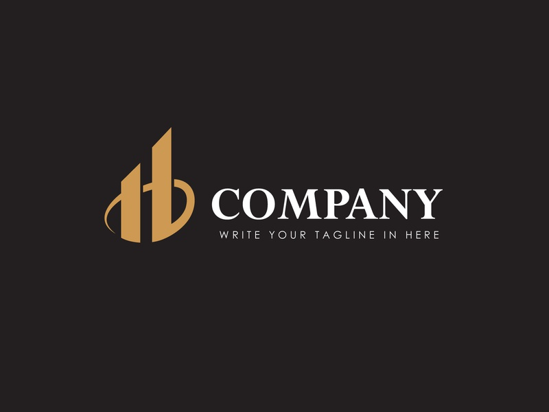 H Buildings Logo realestate property luxury gold construction home buildings architecture retail modern fp93 flat icon company identity branding simple design vector logo