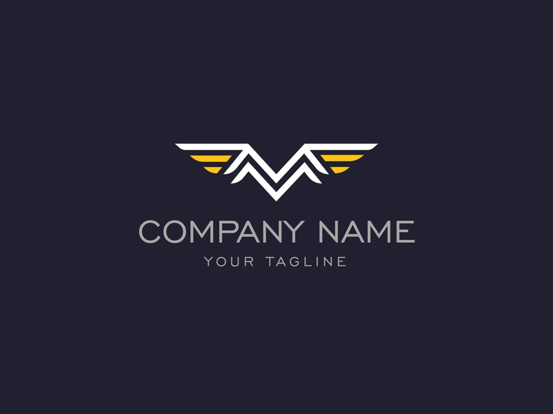 M Wings Logo elegant industry masculine bold strong airforce aircraft plane flight aviation modern fp93 icon company identity branding simple design vector logo