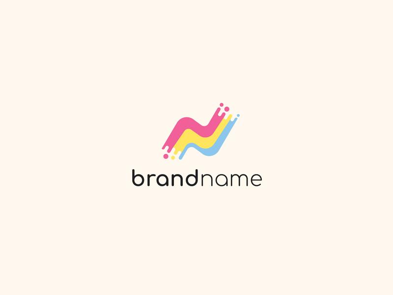 N Paint Logo room house interior home pastel retro vintage colors brush paint letter modern company identity branding simple design vector logo