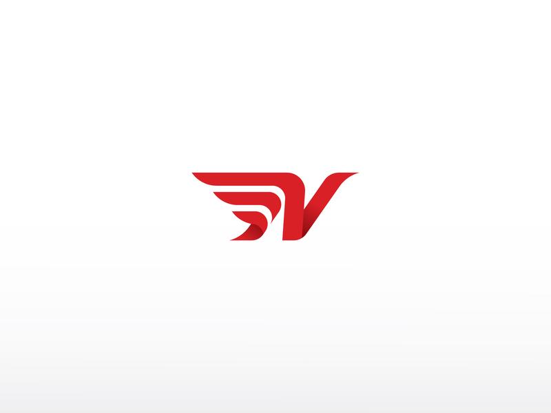 N Wings Logo gradient modern white red animal bird wings letter ux ui app icon company identity branding simple design vector logo