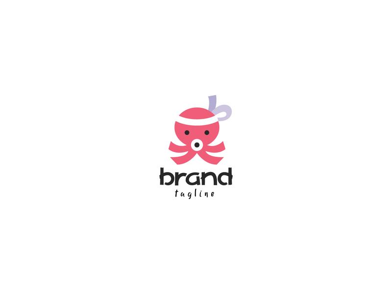Baby Takoyaki Logo merchant people foodstall japan food takoyaki octopus baby adorable cute app modern mascot icon identity branding simple design vector logo