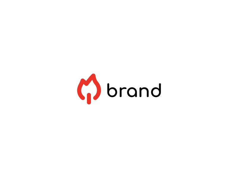 On Fire Logo games play technology digital color red lineart fire button on app company modern icon identity branding simple design vector logo