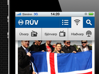 Mobile web for The Icelandic National Broadcasting Service mobile web ui icons iphone blue menu