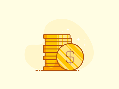 Coins dollar icon dollars cent cash outline money coin coins