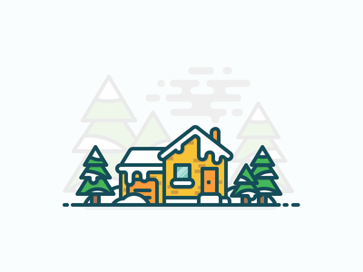 Winter House outline illustration garage door window tree snow house winter