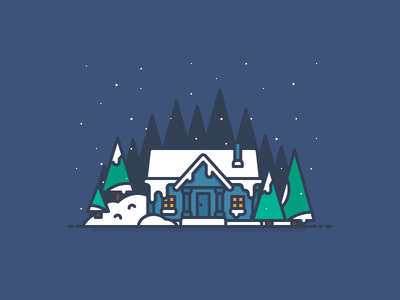 Winter House 2 outline forest winter window tree snow illustration house door