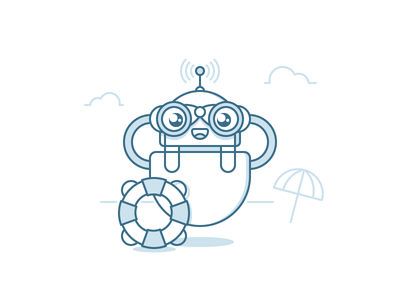 Robot-1. Rescuer line binoculars umbrella lifebuoy robot outline illustration clouds