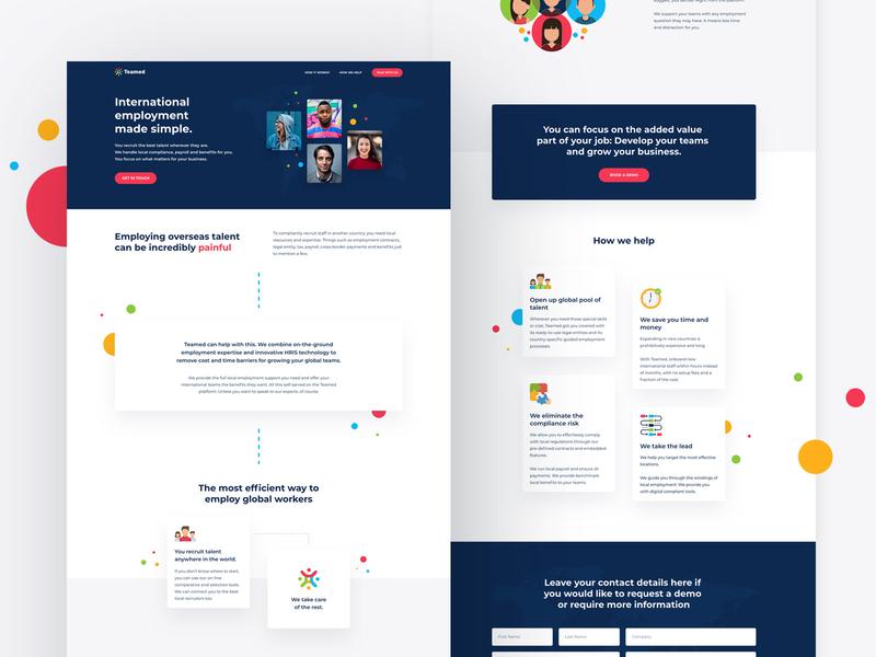 Landing Page for Teamed website design nocode web design teamed webflow design ui web ux website