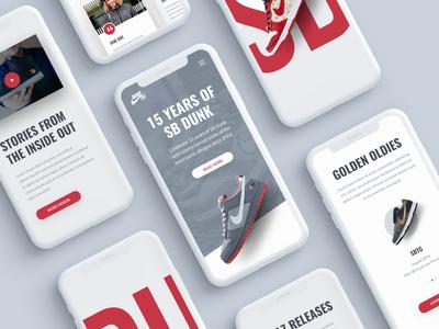 SB DUNK minimal design branding animation web mobile responsive website app sb dunk nike sneaker