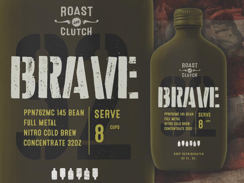 BRAVE package design graphic design typography cold brew nitro label coffee packaging design