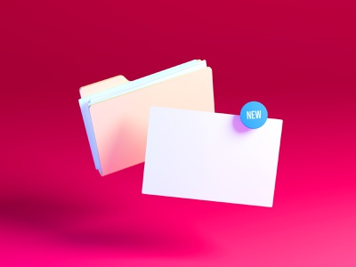 Add new document to folder documents folder ui blender illustration 3d