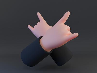 Horns Up rig 3d modeling horns hands blender