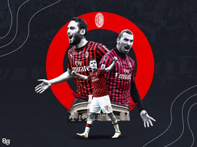 ac milan wallpaper ibrahimovic hakancalhanoglu wallpaper seriea acmilan gameday matchday football sports poster social media soccer design