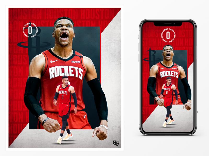 westbrook westbrook houston rockets nba basketball gameday matchday sports poster social media design